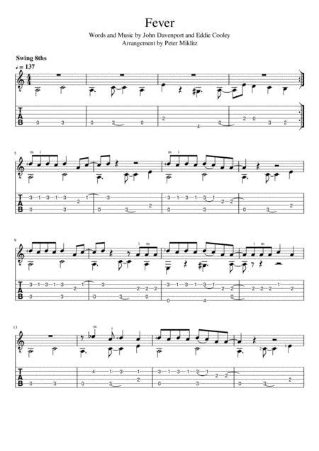 Download Fever (Standard Notation And TAB) Sheet Music By