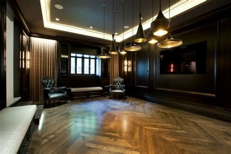 ceiling beams with recessed lights tom dixon beat light contemporary basement michael