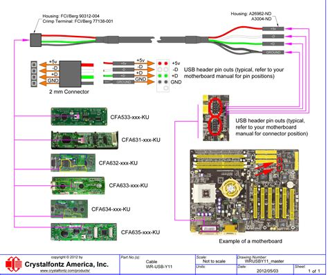 usb motherboard cable wrusby11 from crystalfontz