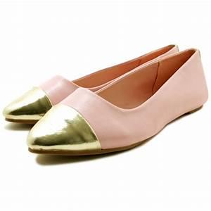 Elise Toe Cap Flat Pump Ballet Ballerina Shoes - Pink ...
