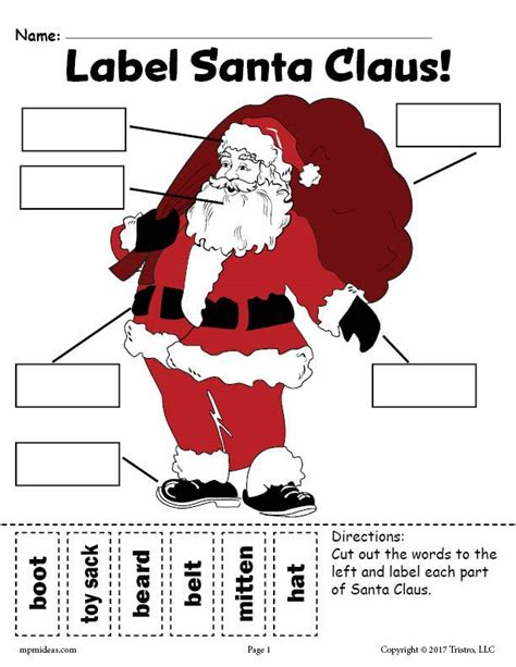 free santa claus labeling worksheets includes a cut and paste worksh supplyme