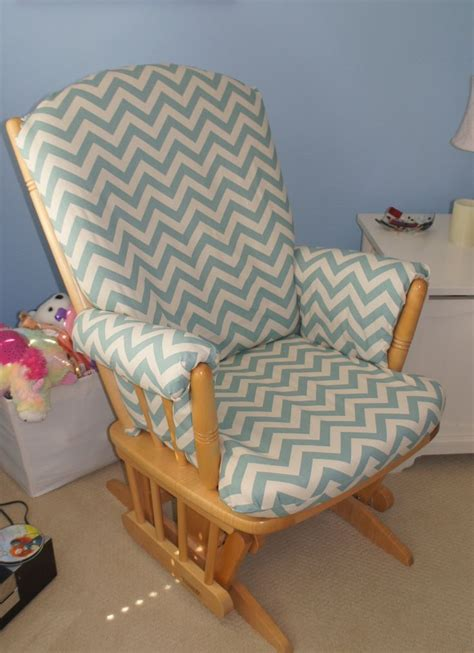 glider rocking chair recovered with chevron print fabric