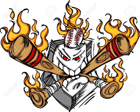 Flaming Softball Clipart