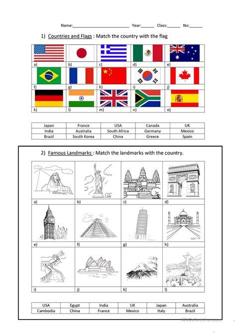 countries  capitals worksheet  esl printable