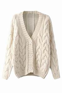 Beige White Warm Womens Cable Knit Vintage Plain Cardigan ...