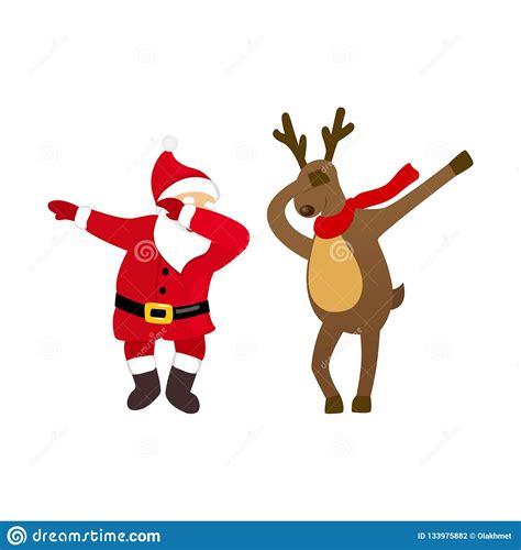 Funny Santa And Deer Dancing Dab Move Quirky Cartoon