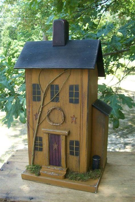 Primitive Birdhouse Saltbox Rustic