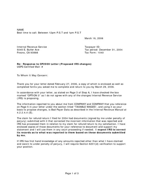 irs notice response letter sample sample