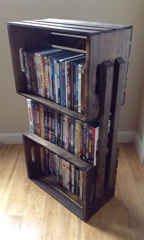 crate dvd rack wooden crate shelves crate furniture