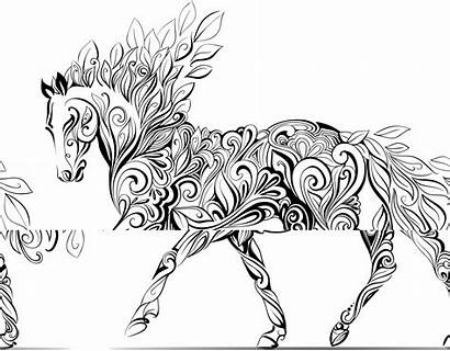 Coloring Horse Pages Zentangle Unicorn Colouring Adult