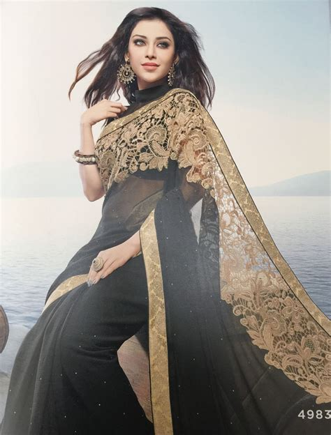 And Gold Sari black gold lace sari