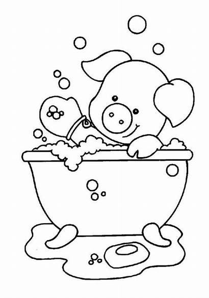 Coloring Bath Pages Soap Take While Piggy