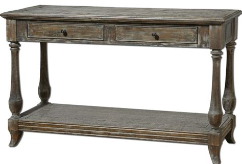the uttermost co mardonio distressed wood rustic console table