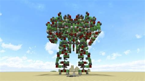 robot minecraft colossus giant command attack mech blocks battle controllable village building walking someone stone