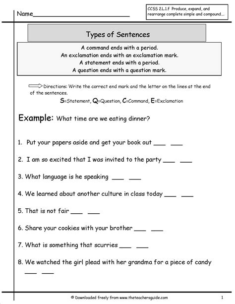 sentences worksheets   teachers guide