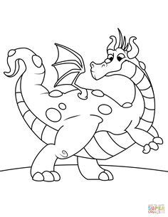 Cute Dragon Breathing Fire coloring page from Dragon