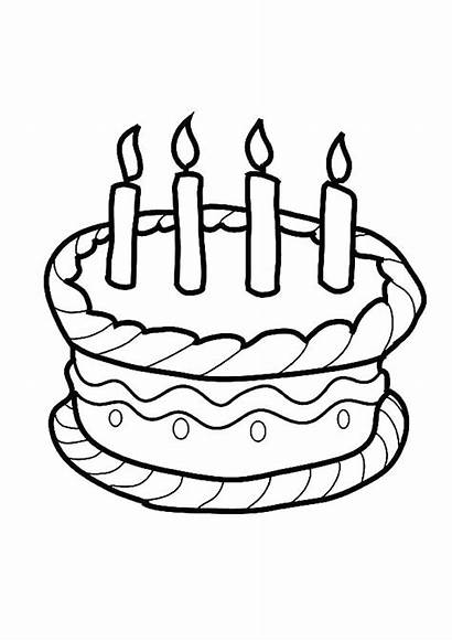 Cake Birthday Coloring Candle Pages Drawing Candles