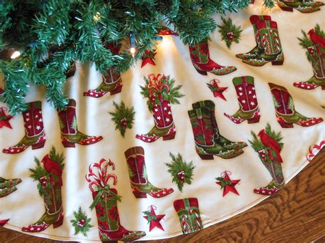 western christmas tree skirt with cowboy boots by