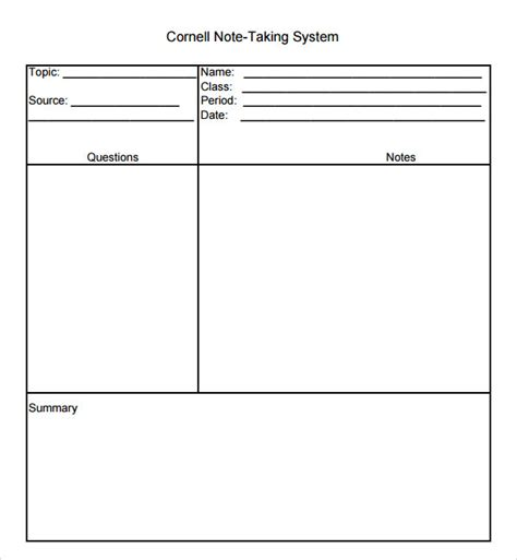 cornell notes template 16 sle editable cornell note templates to sle templates