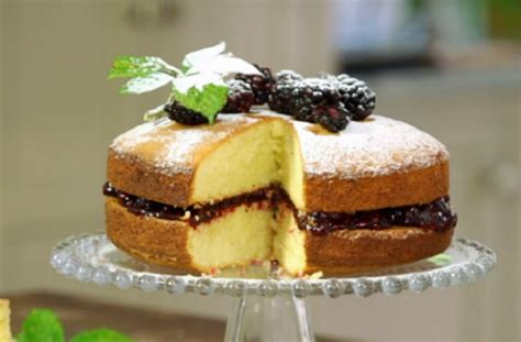 Deliciously light and moist with no weird ingredients! James Martin Victoria sponge with duck eggs and homemade blackberry jam recipe on James Martin's ...