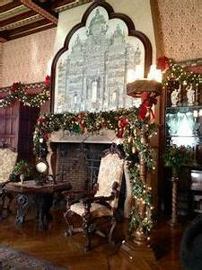 Library inside Biltmore House ready for Christmas Tours