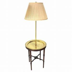 Four legs faux bamboo brass tray table floor lamp at 1stdibs for Floor lamp with table tray uk