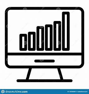 Computer Chart Line Icon  Computer With Graph Vector