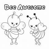 Coloring Bee Awesome Pages Bumblebee Bees Fun Return sketch template