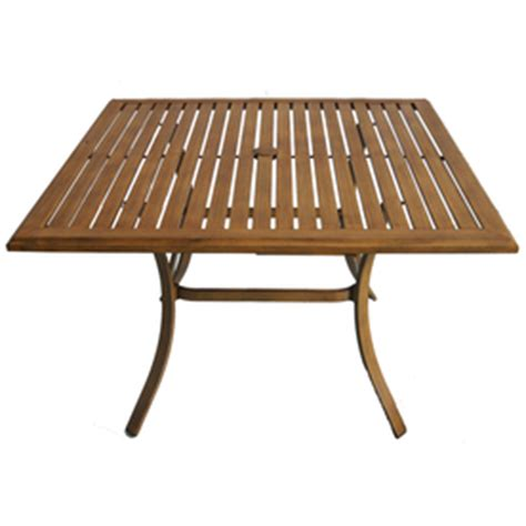 allen roth aluminum wood grain colby patio dining table
