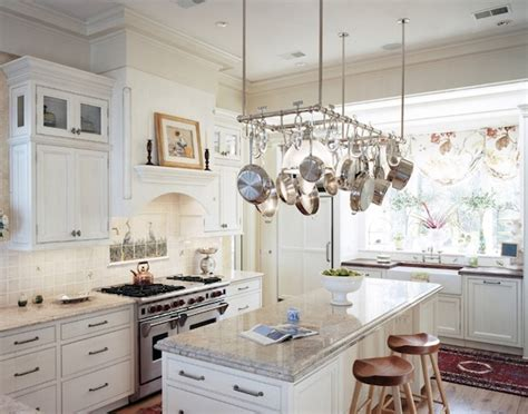 kitchen island with hanging pot rack creative ways to use hanging storage in your kitchen