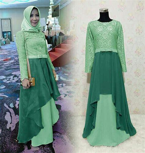 baju gamis pesta kondangan herlin hijau