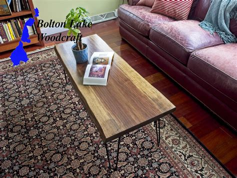 Tools used on live edge river coffee table a nice design option on the legs is to route a cutaway along the top outside edges of the legs. Live edge walnut coffee table hairpin legs Coffee table ...