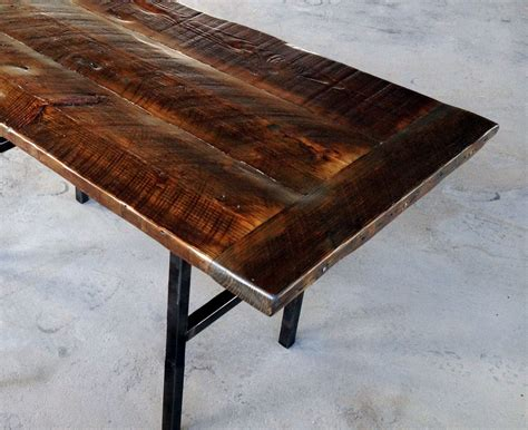 hand crafted reclaimed wood kitchen table  steel legs