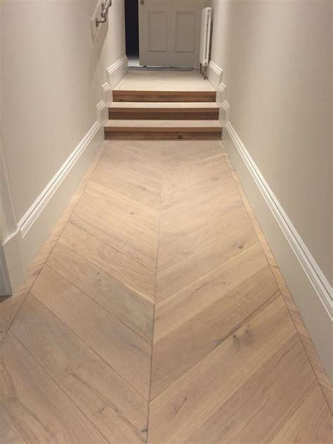 engineered oak chevron parquet flooring  hallway wide
