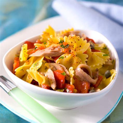de recettes de cuisine salade de pâtes au poivron et au thon facile et pas cher