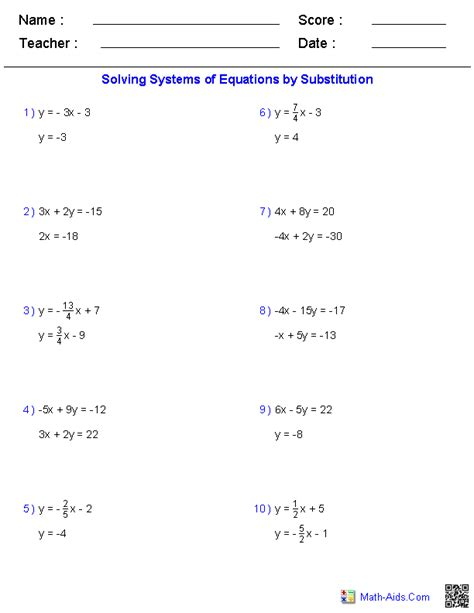 algebra 1 worksheets systems of equations and