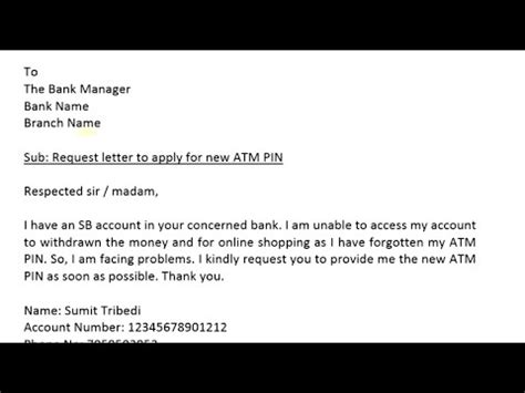 write application  bank manager   atm card