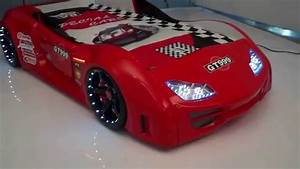 Supercar Hot Red GT999 Race Car Bed with LED light USA ...