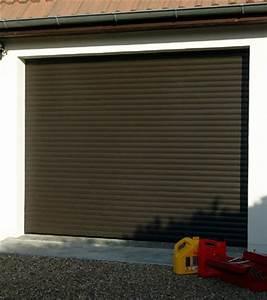 porte de garage avec lames de volets roulant electrique With volet roulant electrique marron