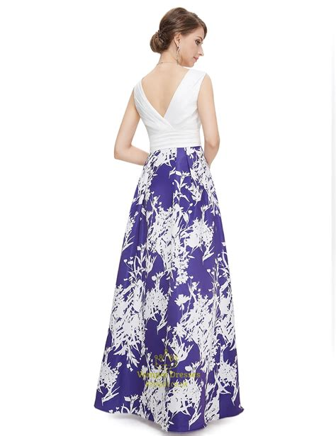 blue and white floor l blue and white v neck floral print maxi prom dress