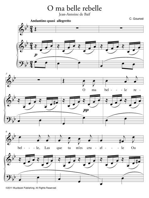 möbel mit o partition o ma rebelle piano et chant voix haute de charles gounod ean13