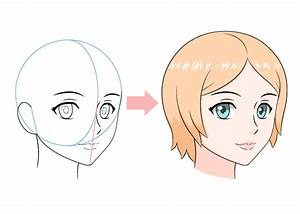 How to Draw an Anime Female Face 3/4 View - AnimeOutline