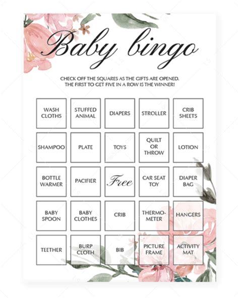 blush pink baby bingo cards  neutral baby shower