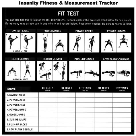 insanity fit test  insanity workout