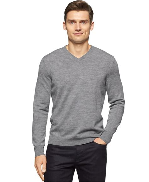 mens v neck sweater lyst calvin klein merino wool v neck sweater in gray for
