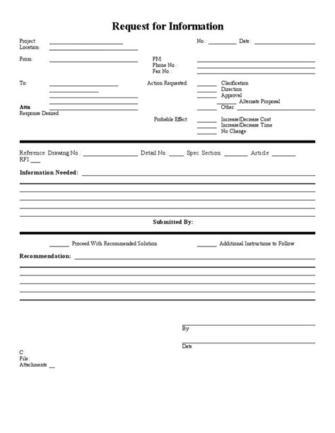 blank sample rfi form