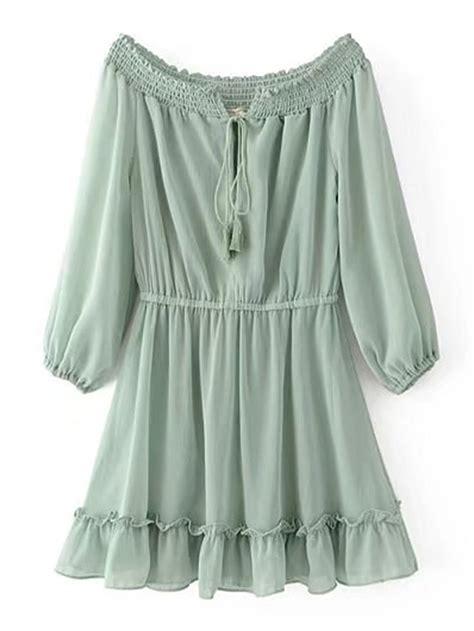 Shop Boat Neckline Frill Trim Tassel Tie Dress online ...