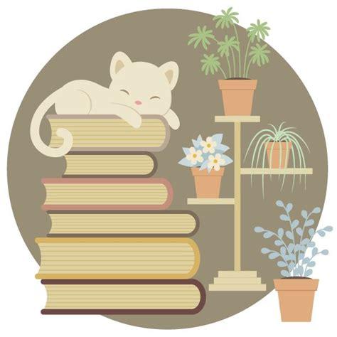 create  sleeping cat   pile  books  indoor plants