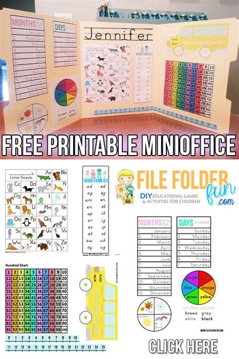 mini office printables  images kindergarten