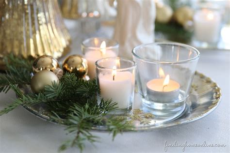 christmas decorating silver gold candle plate finding